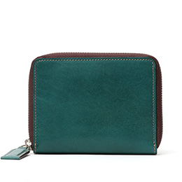 ボーデッサン(BEAU DESSIN) レザー ウォレット 二つ折り財布 ミッドナイトグリーン