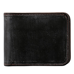 ファイブウッズ(FIVE WOODS) CASK(キャスク) ブライドルレザー 二つ折り財布 ダークブラウン
