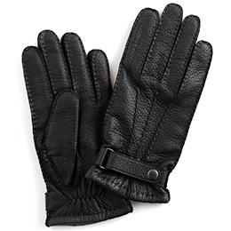 KURODA(クロダ) 鹿革 ベルト付 メンズ 手袋 ブラック