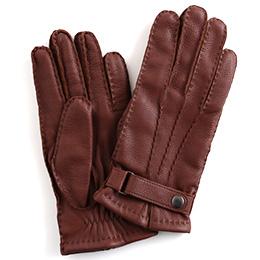 KURODA(クロダ) 鹿革 ベルト付 メンズ 手袋 ブラウン