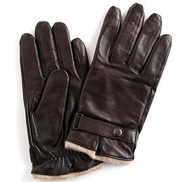 KURODA(クロダ) 羊革 ベルト付 メンズ 手袋 ブラウン