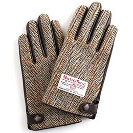 KURODA(クロダ) ハリスツイード 羊革 メンズ 手袋 ブラウン