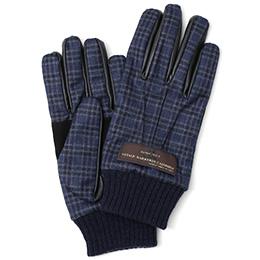 KURODA(クロダ) カノニコ社製ウール生地 手袋 ネイビー/チェック