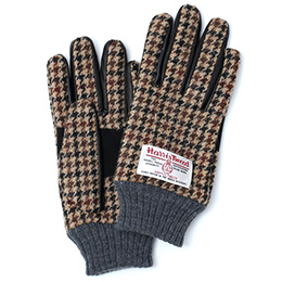 KURODA(クロダ) ハリスツイード 羊革(ラムスキン) 手袋 ブラウン