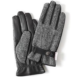KURODA(クロダ) ハリスツイード 羊革 メンズ 手袋 グレー/ヘリンボーン