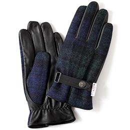 KURODA(クロダ) ハリスツイード 羊革 メンズ 手袋 ブラックウォッチ