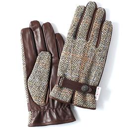 KURODA(クロダ) ハリスツイード 羊革 メンズ 手袋 ベージュ/ヘリンボーン