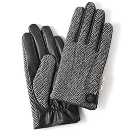 KURODA(クロダ) ハリスツイード 羊革 メンズ 手袋 グレー