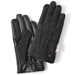 KURODA(クロダ) ハリスツイード 羊革 メンズ 手袋 チャコール