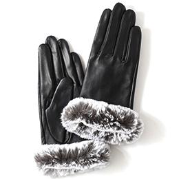 KURODA(クロダ) 羊革 レディース 手袋 ブラック/グレー