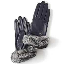 KURODA(クロダ) 羊革 レディース 手袋 ネイビー