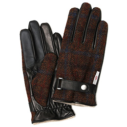 KURODA(クロダ) ハリスツイード ベルト付き 羊革 メンズ 手袋 ブラウン/チェック