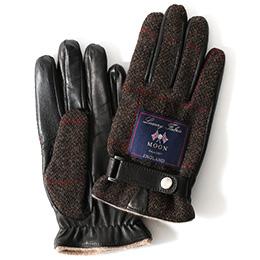 KURODA(クロダ) ムーン ベルト付き 羊革 メンズ 手袋 ブラウン/チェック
